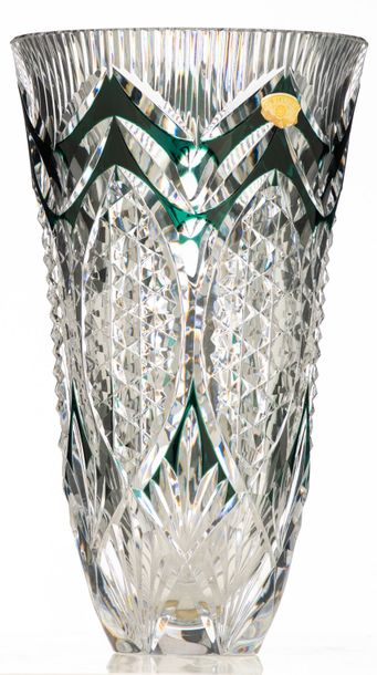 An imposing green overlay crystal cut Val Saint Lambert vase, signed, H 45,5 cm