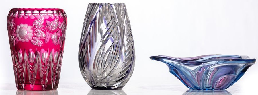 A various collection of two crystal Val Saint Lambert vases, in cranberry and bl…