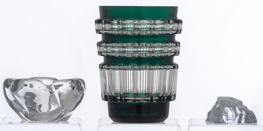 A collection of Val Saint Lambert crystal cut items, consisting of a green overl…
