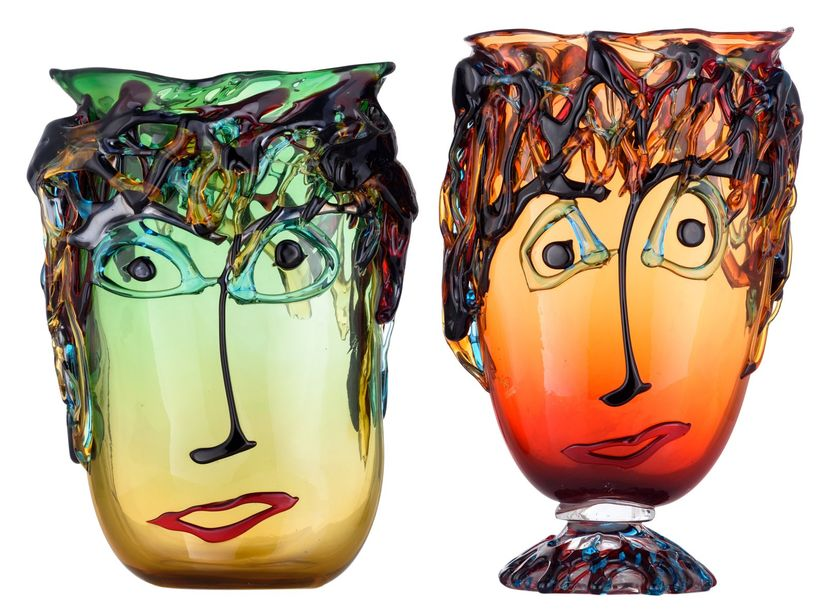 Two Murano glass 'Picasso' tall oval vases, Costantini S., H 35 38,5 cm