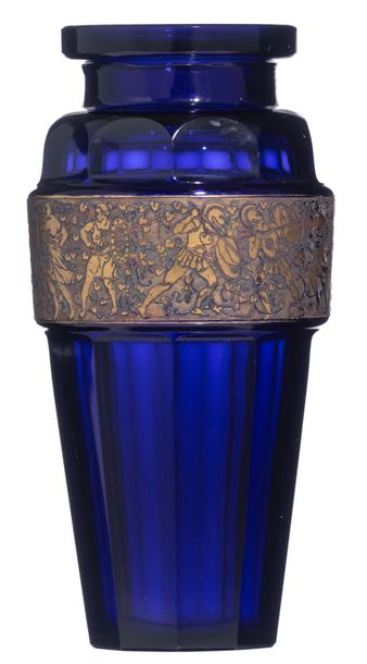 An Art Deco glass vase by Ludwig Moser & Sohne, Karlsbad, the gilt frieze decora…