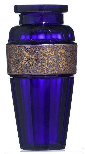 An Art Deco glass vase by Ludwig Moser & Sohne, Karlsbad, the gilt friezedecora…