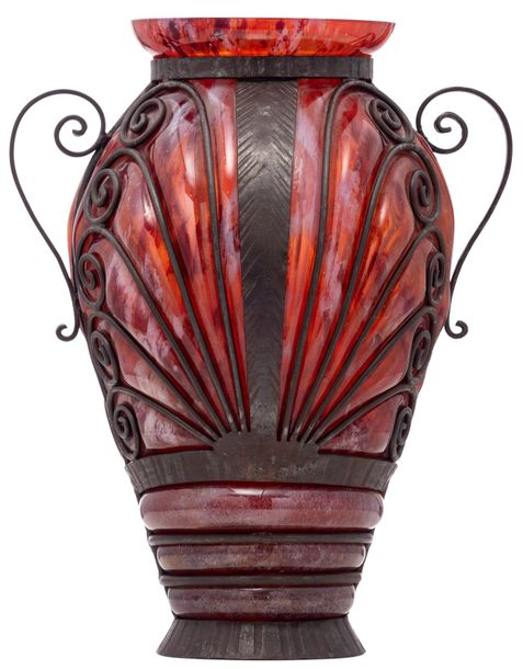 A Wiener Sezession style glass vase with wrought iron mounts, H 36 cm