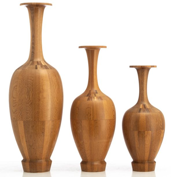 A collection of Art Deco timber vases, attributed to De Coene Frères, Belgium, 1…