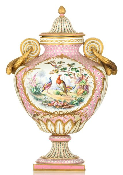 An exceptional 'Rose Pompadour' ground soft porcelain Sèvres covered vase, decor…