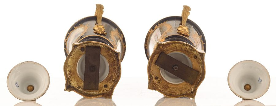 A fine pair of covered bleu royale ground Sèvres vases with gilt bronze mounts, …