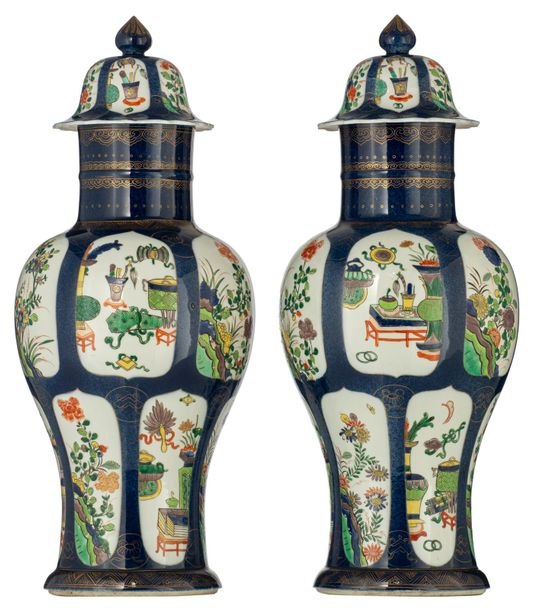 A pair of Western porcelain bleu poudre chinoiserie covered vases, the roundels …