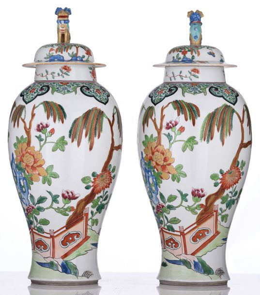 A pair of polychrome decorated Samson covered vases, depicting the pierced schol…