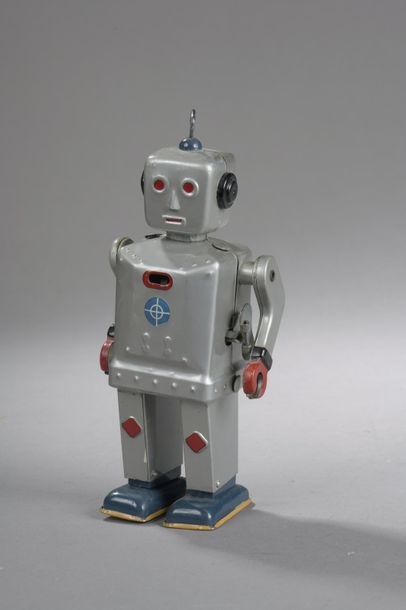 JAPAN TN Robot Gris Metal - Mecanique - 1950  Dim. 20,5 cm