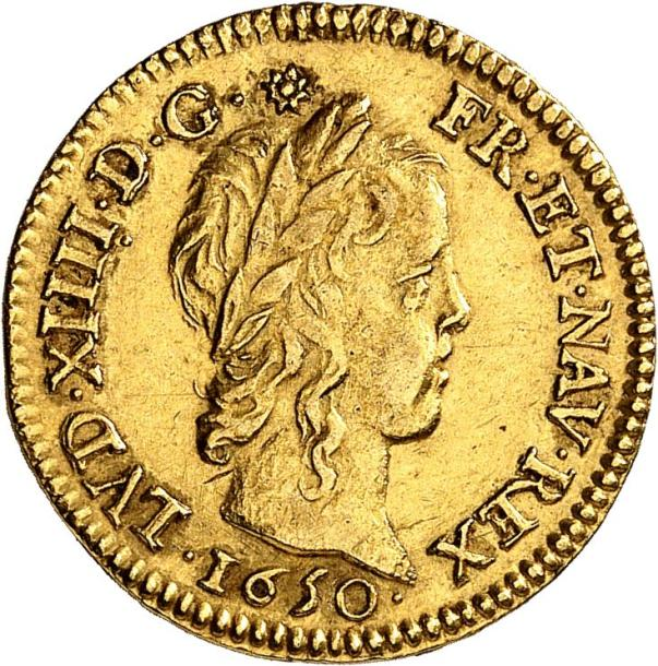 LOUIS XIV (1643-1715). Demi-louis d'or à la mèche longue 1650 PARIS (A). 3,36 g.…