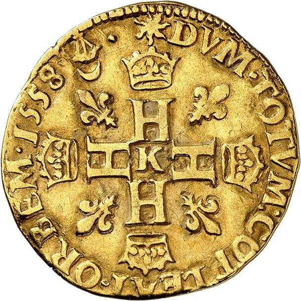 HENRI II (1547-1559). Double Henri d'or du 2ème type 1558 BORDEAUX (K au centre…