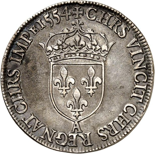 HENRI II (1547-1559). Teston en argent au moulin du 3ème type 1554 PARIS (A). 9,46…