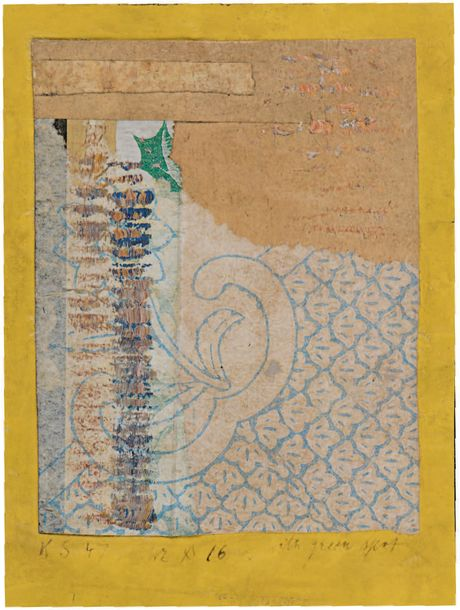 Kurt SCHWITTERS (1887-1949) Mz x 16 with green spot, 1947 Dessin Merz - collage,…