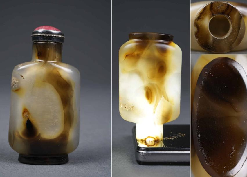 """FLACON TABATIERE A EPAULES TOMBANTES EN AGATE """"SILHOUETTE""""  Chine, Dynastie Qing,…"""