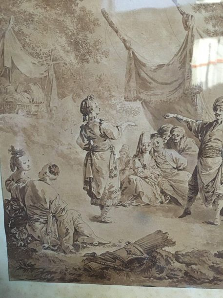 Gravure sépia Turquerie  30x23,5  On y joint Gravure anglaise The rignt and the …