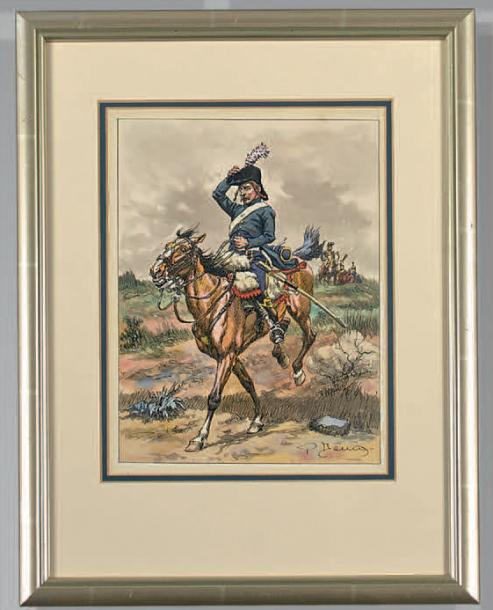 Guides d'état-major provenant du 5e hussards, 1792; carte n° 6 série n° 106, signé…