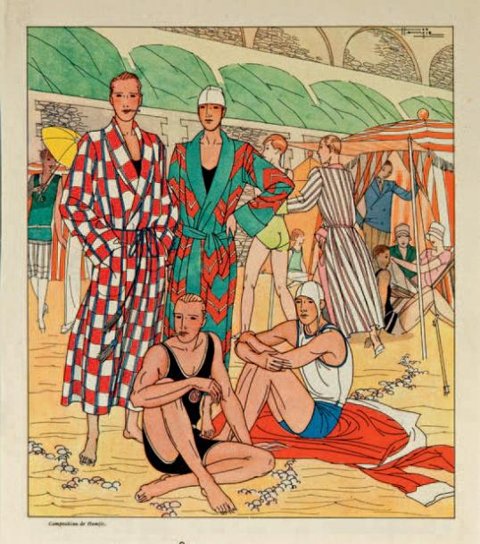 HEMJIC (Marcel Jacques 1894-1942) Côte des Basques, vers 1927-29. Illustration en…