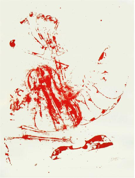 ARMAN Fernandez (1928-2005) Music Stop N°2, 1971 - Serigraphy in two colors - Signed…