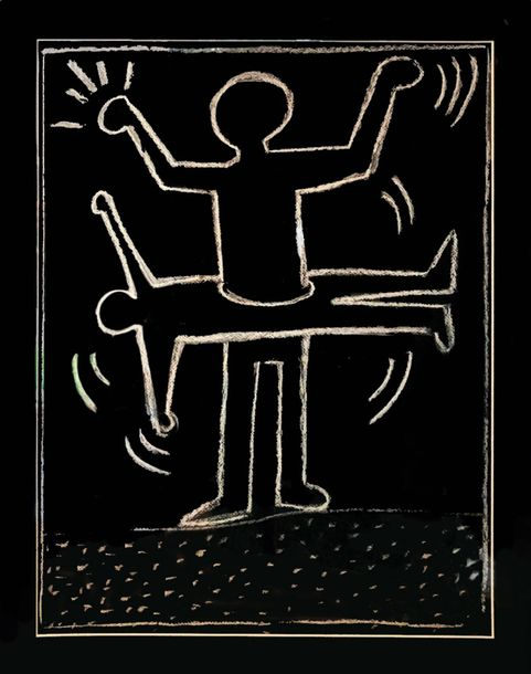 Haring Keith (1958-1990) Travail dans le métro à New York, 1987 - Mixed media on…
