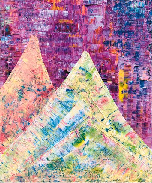 Behnam-Bakhtiar Sassan (1984) Mountains of Life, 2018 - 64 x 55 cm - Oil and acrylic…
