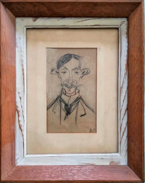 Evenepoel Henri (1872-1899) Sketch of Mr Crespin a Brussels Glassblower - Drawing…