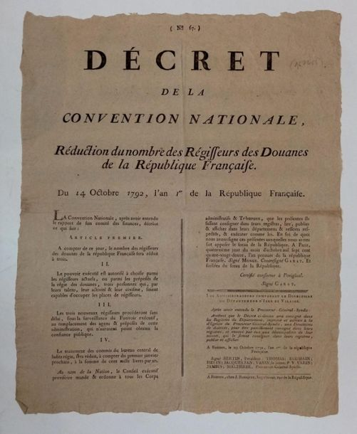 4. [AFFICHE DOUANE] Décret de la Convention Nationale, réduction du nombre des r…