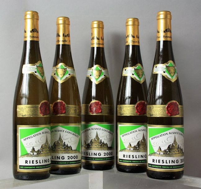 5 bouteilles RIESLING - CAVES DE HUNAWIHR 2000