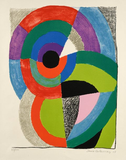 Sonia DELAUNAY Composition orphique, 1968, lithographie, 49 x 37,5 cm, marges 66…