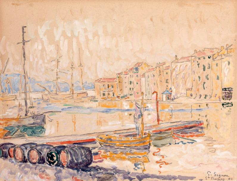 Paul SIGNAC (1863-1935) Saint-Tropez le port, 1901 Aquarelle et gouache sur traits…