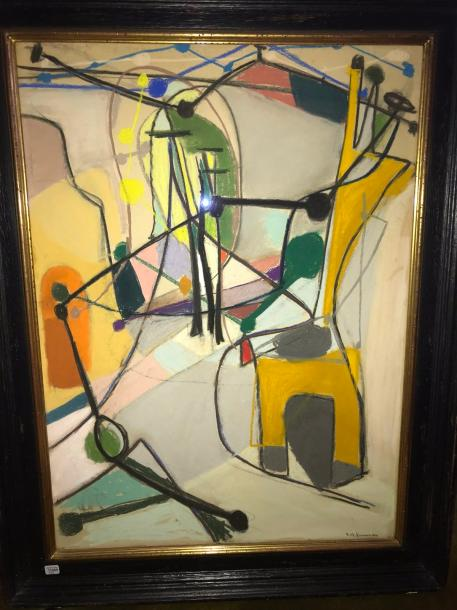 """E. PERMADEE, """"Composition"""", pastel signé."""