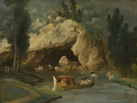 Hubert ROBERT (Paris, 1733 - 1808) Embarcations près d'une grotte. Toile..29 x 38…