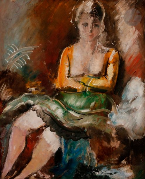 Charles DUFRESNE (1876 1938)  Femme assise, vers 1925  Huile sur toile.  Signée …