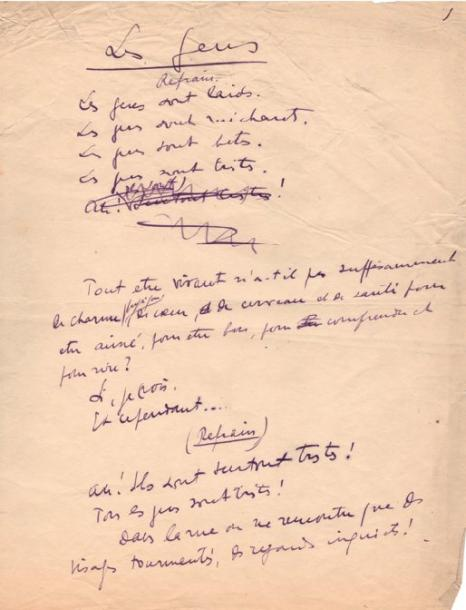 Sacha GUITRY Les Gens. Manuscrit autographe signé, [1910]; 9 pages et demie in-4…