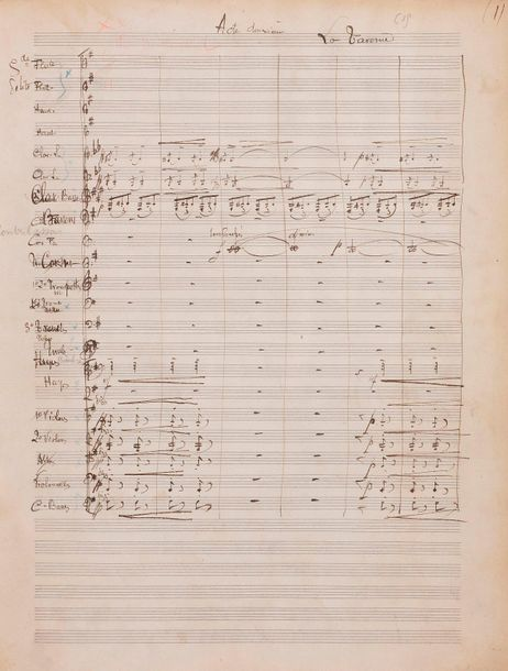Xavier LEROUX (1863 1919). Manuscrit musical autographe, William Ratcliff ; 260 …