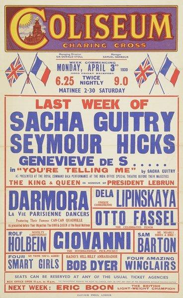 [Sacha GUITRY]. Affiche du Coliseum à Londres pour You're telling me, 1939. Haycock…