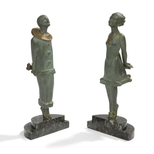 Marcel-André BOURAINE (1886-1948) Pierrot et Colombine, version Art déco Deux sculptures…