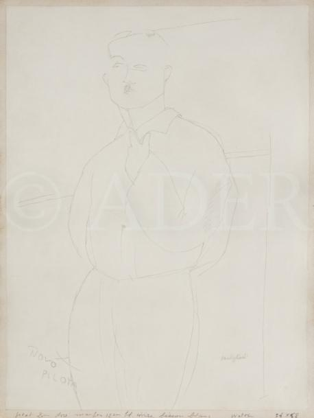 Amedeo MODIGLIANI (1884-1920) Portrait de Paul Guillaume à mi-cuisse Mine de plomb…