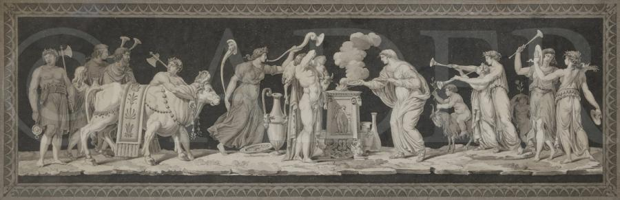 Jean Guillaume MOITTE (1746-1810) Paire de sacrifices antiques, l'un à Apollon et…