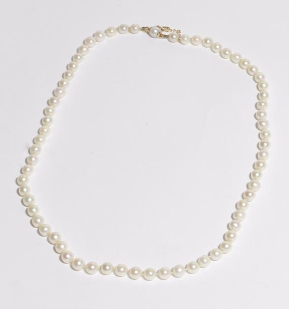 Collier de perles de culture, petit fermoir en or 18K (750). Poids brut : 23,8 …
