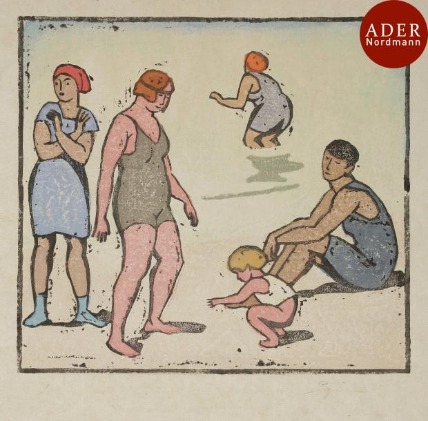 Maud Hunt Squire (américaine, 1873-1954) Four Bathers and a Child (Quatre baigneuses…
