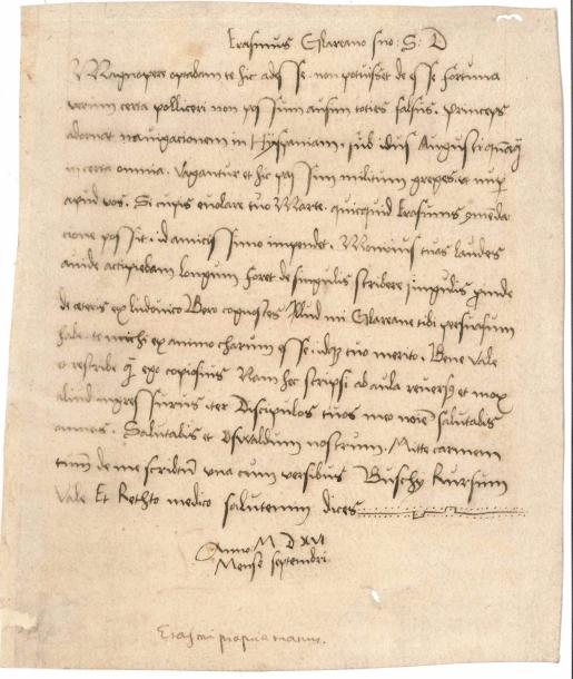 ERASME (1469-1536). Lettre manuscrite (copie contemporaine), [Anvers vers le 13…