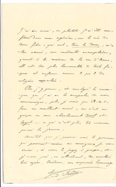 Vincent d'INDY. L.A.S., Lundi matin [1906], à Mme de Valbray ; 2 pages in-8, enveloppe…