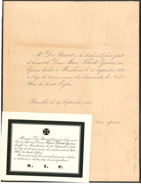 [Maria MALIBRAN (1808-1836)]. 3 documents (portrait gravé joint). Faire-part de…