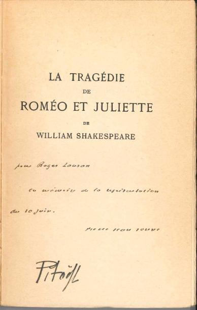 THEATRE. 7 volumes dédicacés à Roger Lauran (sauf un) ; in-8 brochés. William Shakespeare,…