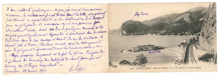 Gustave EIFFEL. Manuscrit autographe signé, Beaulieu 28 mars 1911 ; 3 pages oblong…