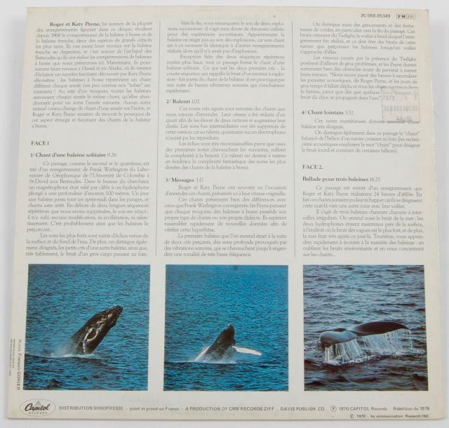 Dr. ROGER S. PAYNE « Le Chant Des Baleines » Capito records France, 1978. Impression…
