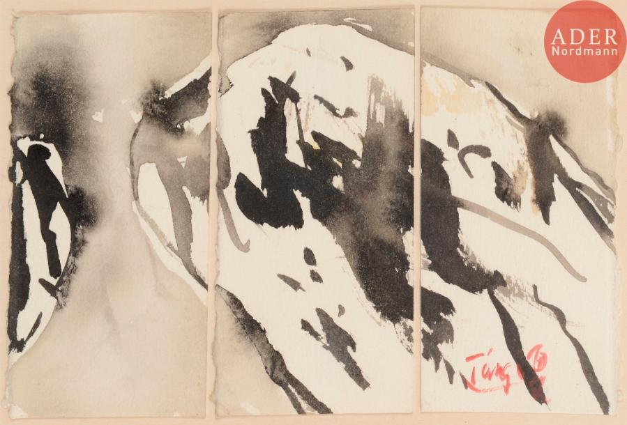 T'ang Haywen [chinois] (1927-1991) Composition - Triptyque, vers 1983 Encre de Chine.…