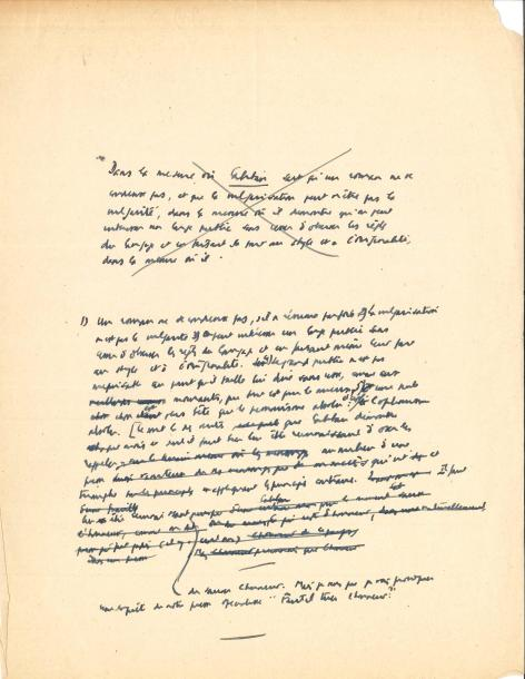 Albert CAMUS. L.A. (minute), [1949], à la revue Caliban ; 1 page in-4 avec ratures…