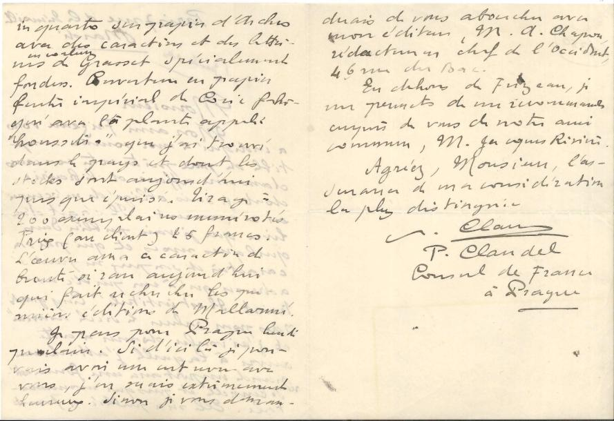 Paul CLAUDEL. L.A.S., Paris mardi [30 novembre 1909], à Gustave Tronche ; 3 pages…