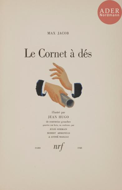 [HUGO (Jean)] - JACOB (Max). Le Cornet à dés. Paris : NRF, 1948. — In-8, 258 x 166 :…